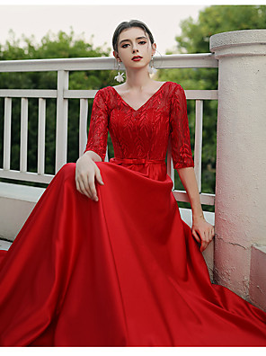cheap Prom Dresses-A-Line Minimalist Plus Size Formal Evening Dress V Wire Half Sleeve Floor Length Lace Jersey Cotton with Lace Insert 2020
