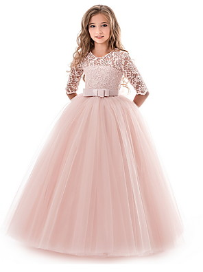 cheap Junior Bridesmaid Dresses-Kids Girls' Flower Princess Party Solid Colored Lace Dress Purple