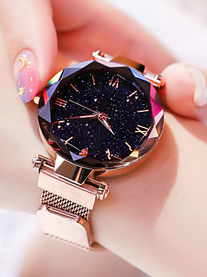cheap Quartz Watches-Women's Quartz Watches Quartz Stylish Fashion Casual Watch Stainless Steel Black / Purple / Pool Analog - Rose Gold Black Blue One Year Battery Life