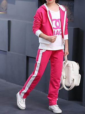 cheap Girls' Dresses-Kids Girls' Basic Print Long Sleeve Clothing Set Blushing Pink