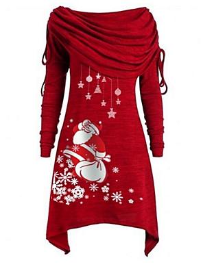 tanie Topy damskie-Damskie Sukienka A-line Mini sukienka - Długi rękaw Święty Mikołaj Geometric Shape Z odsłoniętymi ramionami Podstawowy Święta Impreza Dzienne zużycie Czarny Niebieski Fioletowy Czerwony Szary S M L