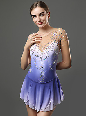 cheap Ice Skating Dresses , Pants & Jackets-Figure Skating Dress Women's Girls' Ice Skating Dress Blue Open Back Spandex Stretch Yarn High Elasticity Training Skating Wear Solid Colored Classic Crystal / Rhinestone Long Sleeve Ice Skating