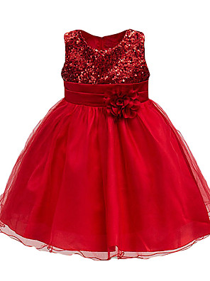 cheap Girls' Dresses-Kids Toddler Girls' Active Cute Rose Floral Solid Colored Lace Sequins Layered Sleeveless Knee-length Dress Purple