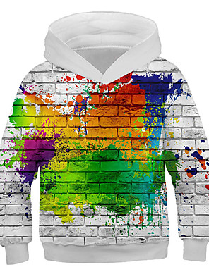 cheap Boys' Tops-Kids Boys' Basic Print 3D Long Sleeve Hoodie & Sweatshirt Rainbow