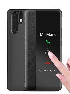 cheap Huawei Case-Window View Smart Leather Flip Case For Huawei P30 Pro Mate 30 Pro P20 Pro Function Phone Cover