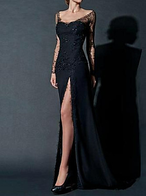cheap Prom Dresses-Sheath / Column Sexy Black Engagement Formal Evening Dress Scoop Neck Long Sleeve Floor Length Chiffon with Beading Lace Insert Split Front 2020