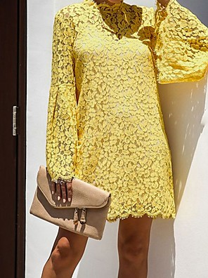 cheap Mini Dresses-Women's Mini Shift Dress - Long Sleeve Solid Colored Lace Crew Neck White Black Yellow S M L XL