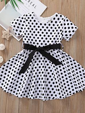 cheap Girls' Dresses-Kids Girls' Polka Dot Dress Black