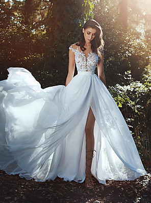 cheap Wedding Dresses-A-Line Wedding Dresses V Neck Court Train Chiffon Lace Cap Sleeve Country Romantic Sexy See-Through Backless with Lace Sashes / Ribbons 2020