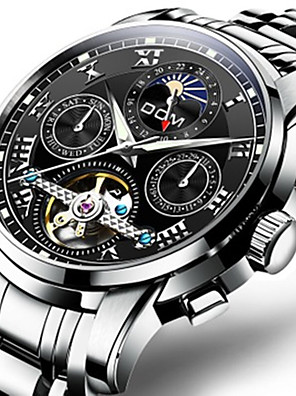 cheap Sport Watches-Men's Mechanical Watch Automatic self-winding Sporty Outdoor Water Resistant / Waterproof Stainless Steel Black / Silver Analog - Black / White White Black / Noctilucent