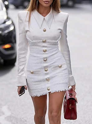 cheap Women's Dresses-Women's Sheath Dress - Long Sleeve Solid Colored Shirt Collar Elegant Slim White Black S M L XL XXL XXXL