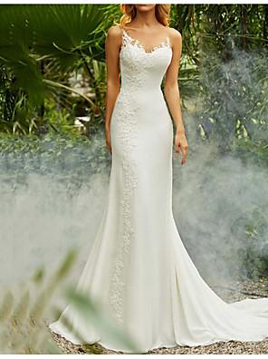 cheap Plus Size Dresses-Mermaid / Trumpet Wedding Dresses V Neck Sweep / Brush Train Chiffon Spaghetti Strap Mordern Backless with Lace Insert 2020