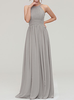 cheap Women's Pants-A-Line Halter Neck Floor Length Chiffon Bridesmaid Dress with Pleats / Open Back