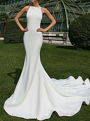 cheap Wedding Dresses-Mermaid / Trumpet Wedding Dresses Jewel Neck Court Train Satin Regular Straps Country Sexy Illusion Detail Backless with Appliques 2020