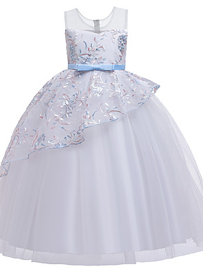 cheap Girls' Dresses-Kids Girls' Vintage Sweet Solid Colored Floral Beaded Mesh Embroidered Sleeveless Maxi Dress Light Blue