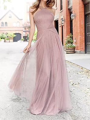 cheap Evening Dresses-A-Line Halter Neck Floor Length Chiffon Bridesmaid Dress with Pleats