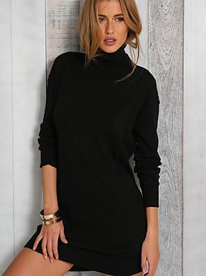 cheap Mini Dresses-Women's Mini Sheath Dress - Long Sleeve Solid Colored Turtleneck Elegant Slim Black S M L XL