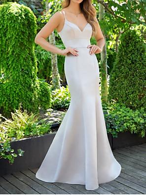 cheap Bridesmaid Dresses-Mermaid / Trumpet V Neck Floor Length Satin Bridesmaid Dress with Ruching