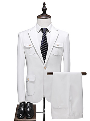 cheap Party Dresses-White Solid Colored Slim Fit Polyester Suit - Notch Single Breasted One-button