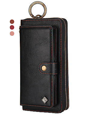 cheap iPhone Cases-Leather Case For iPhone 11 Pro Max XR XS Max 8 Plus 7 Plus 6 Plus Pola Brand Multifunction Wallet Genuine Leather Shockproof Solid Colored Cases