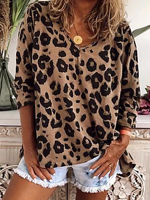 cheap Women's Blouses & Shirts-Women's Daily Plus Size T-shirt Leopard Long Sleeve Tops V Neck Blushing Pink Khaki Brown