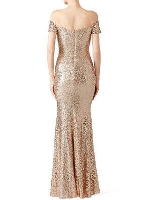 cheap Evening Dresses-Mermaid / Trumpet Sparkle & Shine Prom Formal Evening Dress Off Shoulder Short Sleeve Floor Length Polyester with Sequin 2020
