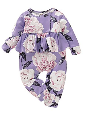 cheap Baby Girls' One-Piece-Baby Girls' Street chic Floral Long Sleeve Romper Purple / Toddler