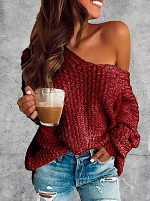 cheap Women's Tops-Women's Solid Colored Pullover Long Sleeve Sweater Cardigans V Neck Wine White Blue