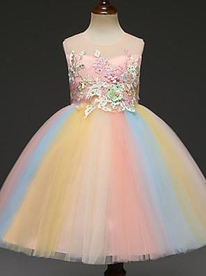 cheap Flower Girl Dresses-Kids Girls' Rainbow Sleeveless Knee-length Dress Rainbow