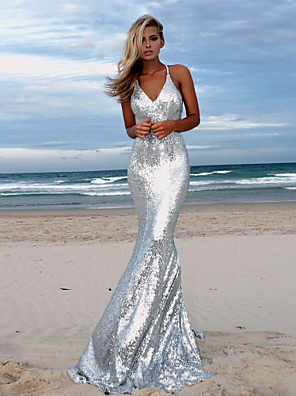 cheap Evening Dresses-Mermaid / Trumpet Sparkle & Shine Formal Evening Dress Spaghetti Strap Sleeveless Sweep / Brush Train Sequined with Sequin 2020