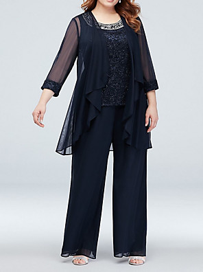 cheap Free Shipping-Two Piece Pantsuit / Jumpsuit Mother of the Bride Dress Wrap Included Jewel Neck Floor Length Chiffon Long Sleeve with Appliques Ruching 2020