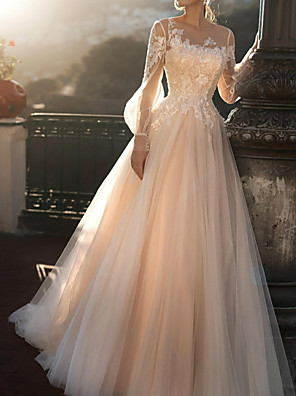 cheap Wedding Dresses-A-Line Wedding Dresses Jewel Neck Sweep / Brush Train Tulle Long Sleeve Romantic Illusion Sleeve with Buttons Appliques 2020