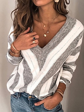 cheap Women's Blouses-Women's Striped Long Sleeve Plus Size Pullover Sweater Jumper, V Neck Winter Wine / Purple / Gray S / M / L
