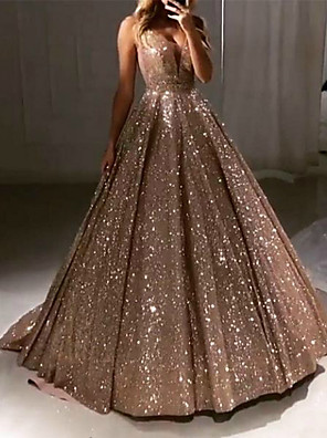 cheap Special Occasion Dresses-Ball Gown Luxurious Sparkle Quinceanera Prom Dress V Neck Sleeveless Sweep / Brush Train Sequined with Pleats Sequin 2020