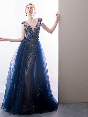 cheap Evening Dresses-A-Line Sparkle Blue Prom Formal Evening Dress V Neck Sleeveless Sweep / Brush Train Lace Tulle with Crystals Beading 2020