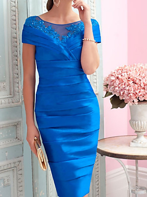 cheap Prom Dresses-Sheath / Column Mother of the Bride Dress Vintage Sexy Plus Size Jewel Neck Knee Length Satin Short Sleeve with Draping 2020
