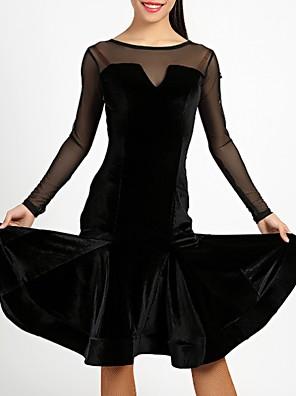 cheap Evening Dresses-Latin Dance Dress Ruffles Tassel Split Joint Women's Training Velvet