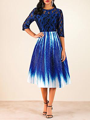 cheap Women's Dresses-Women's A-Line Dress Midi Dress - Half Sleeve Geometric Lace Royal Blue M L XL XXL XXXL