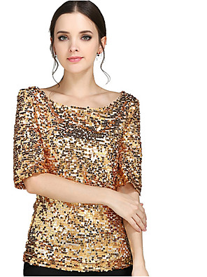 cheap Women's Blouses & Shirts-Women's T-shirt Solid Colored 3/4 Length Sleeve Tops Black Gold Silver