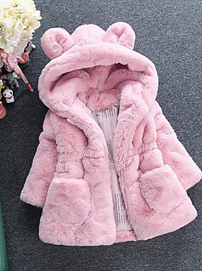 cheap Girls' Dresses-Kids Girls' Street chic Solid Colored Faux Fur Jacket & Coat White