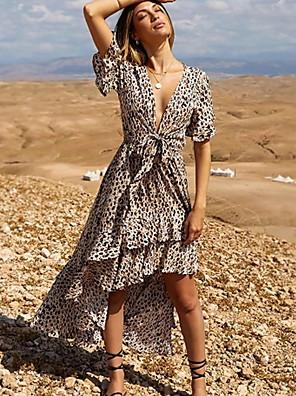 cheap Women's Dresses-Women's Asymmetrical Swing Dress - Short Sleeve Leopard Deep V Elegant Light Brown S M L XL