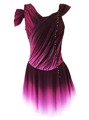 cheap Ice Skating Dresses , Pants & Jackets-21Grams Figure Skating Dress Women's Girls' Ice Skating Dress Purple Open Back Spandex Micro-elastic Training Skating Wear Classic Crystal / Rhinestone Sleeveless Ice Skating Figure Skating