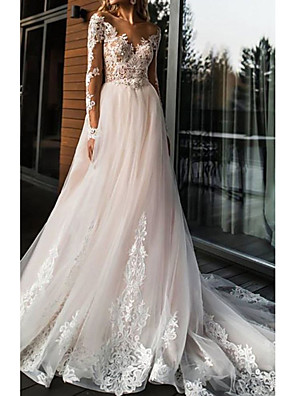 cheap Wedding Dresses-A-Line Wedding Dresses V Neck Sweep / Brush Train Lace Tulle Long Sleeve Romantic Boho Illusion Sleeve with Appliques 2020