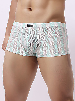 cheap Men's Exotic Underwear-Men's Mesh Boxers Underwear / Boxer Briefs - Normal 1 Piece Low Waist Black Light Blue Blushing Pink M L XL