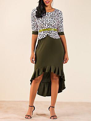 cheap Women's Dresses-Women's Two Piece Dress - Half Sleeve Leopard Purple Red Green S M L XL XXL XXXL XXXXL XXXXXL