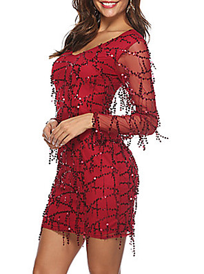 tanie Sukienki-Damskie Sukienka ołówkowa Długi rękaw Solidne kolory Cekiny W serek Szczupła Wino S M L XL XXL / Mini