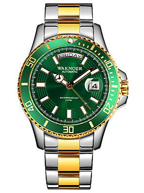cheap Sport Watches-Men's Mechanical Watch Automatic self-winding Formal Style Stylish Luxury Calendar / date / day Stainless Steel Silver / Gold Analog - Golden+Black Gold / Silver / Black Fruit Green / Noctilucent