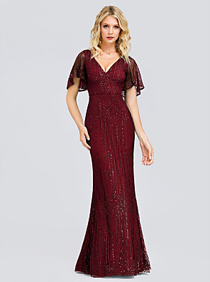 cheap Evening Dresses-Sheath / Column Elegant & Luxurious Formal Evening Dress Plunging Neck Short Sleeve Floor Length Tulle Sequined with Sequin 2020
