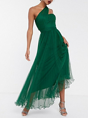 cheap Cocktail Dresses-A-Line Maxi Green Wedding Guest Prom Dress One Shoulder Sleeveless Ankle Length Chiffon with Pleats Ruched 2020