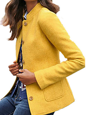 cheap Women's Coats & Trench Coats-Women's Daily Fall & Winter Regular Coat, Solid Colored Stand Long Sleeve Polyester Black / Orange / Yellow